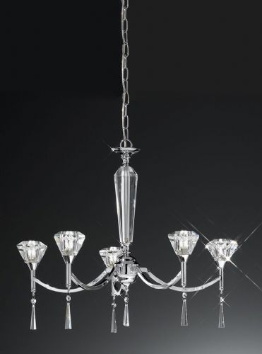 Franklite FL2237/5 Chrome Pendant Light